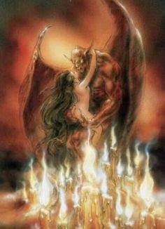 Dark fantasy art by Luis Royo Dark Fantasy Art, Fantasy Artwork, Fantasy Girl, Dark Art, Ange Demon, Demon Eyes, Luis Royo, Angels And Demons, Dark Angels