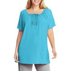 Just My Size Women's Plus-Size Slub Crochet Trim Tunic with Tie, Size: 1XL, Blue
