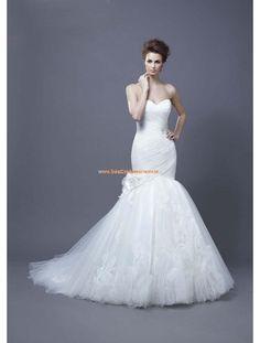 Enzoani Meerjungfrau Lange Wunderschöne Brautkleider aus Softnetz mit Applikation