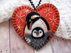 Mother and Baby Penguins Ornament - Made to Order Embroidered Fiber Art