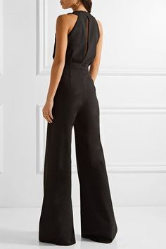 Saloni - Fern Stretch-cady Halterneck Jumpsuit - Black - UK14