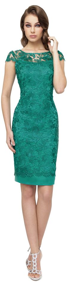 Sonia Peña green emerald lace dress.  women fashion outfit clothing stylish apparel @roressclothes closet ideas