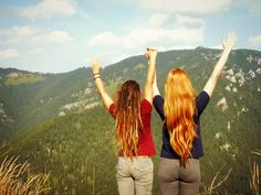 #Best #friends #Slovakia #dreadlocks #redhead #hair #long #girls #trip #nature #happy