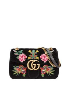 V3LN7 Gucci 110th Anniversary GG Marmont Small Dragon Velvet Shoulder Bag