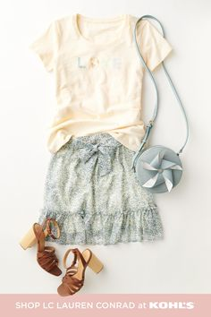 Sunny days pair well with sweet new styles from LC Lauren Conrad! A cute graphic tee and ruffled skirt is the ultimate spring uniform to wear anywhere and everywhere. Add some chunky heels and this adorable pinwheel purse for a lovely look from head to toe. Find new spring outfits even sooner with free store pickup in 1 hour or less! Shop skirts, tees, accessories and more from LC Lauren Conrad at Kohl's and Kohls.com. #springstyle #lclaurenconrad Trendy Fashion, Spring Fashion, Lauren Conrad Collection, Cute Graphic Tees, Spring Looks, Lc Lauren Conrad, Kohls, Spring Outfits, Boho Shorts