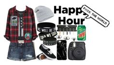 """Bottoms Up: Happy Hour contest"" by xxteenage-dirtbagxx ❤ liked on Polyvore featuring Hollister Co., Aéropostale, Madewell, Hot Topic, Vans, Accessorize, Fujifilm, Recover and happyhour"