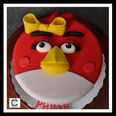 ANGRY BIRD GIRL FONDANT CAKE