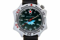WATCH VOSTOK KOMANDIRSKIE 531124 MIKOYAN MIG-29. At the top of the face, at the level of twelve-hour point, there is a red five-pointed star with a white edging – the insignia of the Aviation of the USSR (since 1943) and Russian (until March 2010) Armed Forces. Below the axis of the hands there is a silhouette of a flying multirole fighter MiG-29 (NATO name: Fulcrum). #russian #mechanical #military #watches #vostok #komandirskie #gifts #souvenirs #aircraft Five Pointed Star, Mechanical Watch, Armed Forces, Smart Watch, Aviation, Aircraft, March, Military, Hands