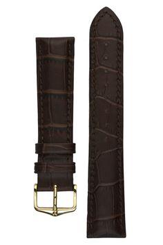 Hirsch DUKE Alligator Embossed Leather Watch Strap in BROWN