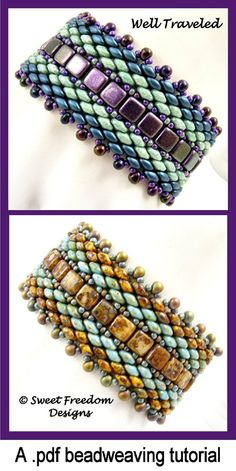 This listing is for a beadweaving tutorial, NOT a finished piece of jewelry. The tutorial will be available as an instant download (.pdf) once payment is completed.  This design uses netting and peyote stitches to weave a striking bracelet with Superduos and Czech 2-hole tiles. I have been having so much fun creating with these 2-hole beads!  The 10-page, full color tutorial is chock-full of diagrams and photographs to guide you through your stitching, as well as step-by-step written…
