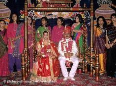 An Indian wedding. A virgin bride is still very significant in Indian culture