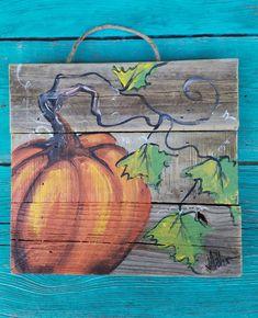 Pumpkin wooden FallAutumn art on reclaimed wood fence Fall | Etsy Pallet Painting, Pallet Art, Painting On Wood, Autumn Painting, Autumn Art, Fall Paintings, Pumpkin Painting, Canvas Paintings, Watercolor Paintings