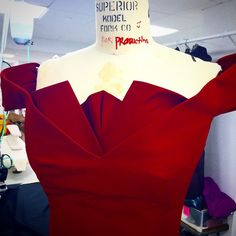 The neckline being worked on In the ZacPosen Atelier