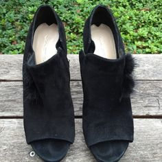 Via Spiga black suede open toe booties Gently used. Size 8 1/2 Via Spiga Shoes