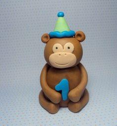 Birthday Monkey Cake Topper by SweetTouchDecor on Etsy, $10.00