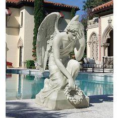 "33""Hx22""Wx16""D. 51 lbs. Divine Memories Angel Sculptural Monument -design Toscano $299. A replica of the 1890 original in the Cimitero Certosa, Bologna, Italy."