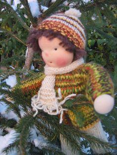 Waldorf type knitted Boy by FeltingZsuska on Etsy Crochet Hats, Dolls, Christmas Ornaments, Type, Holiday Decor, Gifts, Etsy, Fashion, Knitting Hats