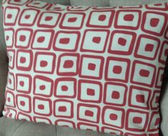 12x16  cushion cover in retro Laura ashley Pelham Cranberry/red & Austen back