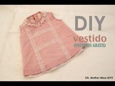 DIY Cómo hacer vestido de niña forrado muy fácil (patrones gratis) | Manualidades