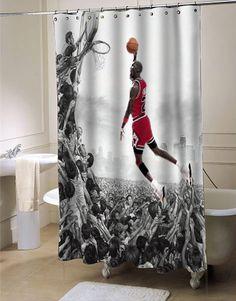 Michael Jordan Fly Shower Curtain Curtains Basketball Room