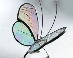 Stained Glass Sitting Butterfly - Clear Iridescence - Tabletop/Window Display