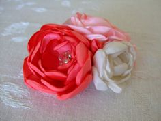 Cute for Valentine's Day! Pink Cabbage Rose Trio Hair Clip by BeadLovinCreations on Etsy