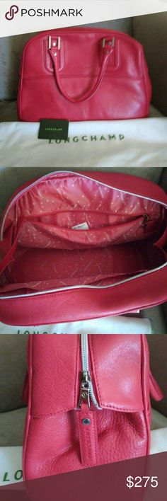 """NWOT Longchamp Cosmos bag. NWOT Longchamp Cosmos leather bag, synthetic interior lining. Red carmine color. 10 3/4"""" height x  7 3/4"""" depth x 17"""" length. Strap drop 6 1/4"""". New without tags only sticker tag inside. Includes dust bag and care card. Never used. Large size bag could be used as a weekend traveler bag or extra roomy everyday bag. Longchamp Bags Satchels"""