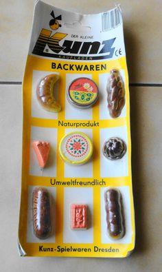 Spielzeug für DDR Kaufmannsladen Schaugerichte Backwaren Steinzeug Gips OVP*** Nachwendezeit ***