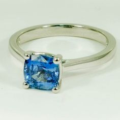 18K White Gold Sapphire Petite Tapered Trellis Ring - Set with a 6.5mm Cushion Blue Sri Lankan Sapphire #BrilliantEarth