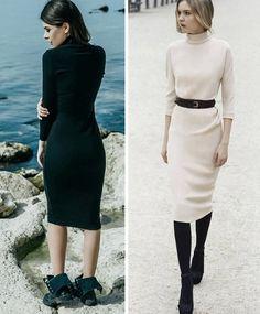 Платье-водолазка: с чем носить?