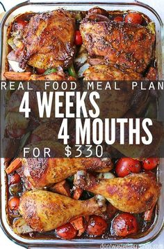 Monthly meal plan on a budget - this real food meal plan is for anyone looking to save money on food. It feeds a family of 4 for $330, includes simple recipes and ideas for breakfast, lunch and dessert. Designed for clean eating whole foods, a great meal plan for eating healthy on a budget.