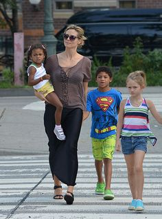 Super model mom Heidi Klum and her children Leni, Henry, Johan and Lou take a walk in the West Village, NYC after having lunch at Pastis restaurant.