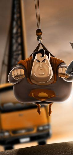Fat Heroes (Superman) by Carlos Dattoli, via Behance