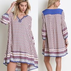 Arriving Soon Bohemian Babydoll Dress This bohemian mixed print babydoll dress has a loose fit and three-quarter sleeves. Dress has soft material and loose fit. Sizes: Small, Medium, Large Comment below with size & I will create a separate listing for you to purchase. Arrives Friday Dresses