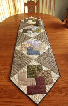Soft Neutrals Card Trick Variation Cotton Pieced Quilted Table