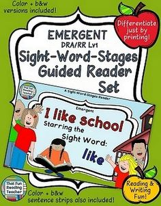 Sight-Word-Stages Emergent Reader: I Like School (RR/DRA Level 1) #SWS