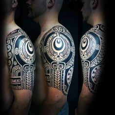 75 Half Sleeve Tribal Tattoos For Men - Masculine Design Ideas Half Sleeve Tribal Tattoos, Full Sleeve Tattoo Design, Tribal Tattoos For Men, Half Sleeve Tattoos Designs, Tattoo Designs And Meanings, Tattoo Designs Men, Tattoos For Guys, Tattoos For Women, Mens Tattoos