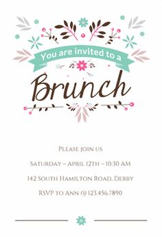Mothers Day Brunch Party Invitation Pink Brunch party Party