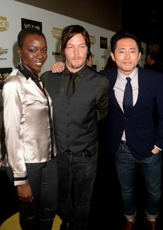 Actors Danai Gurira Norman Reedus and Steven Yeun arrives at Spike TV's 10th annual Video Game Awards at Sony Pictures Studios on December 7 2012 in...