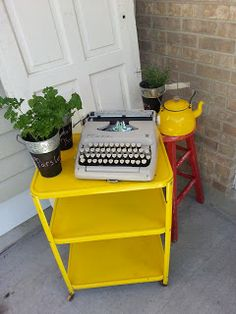 yellow would be ideal m old kitchen cart painted with krylons sun