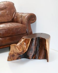 Walnut Coffee Table Tree Root Stump Live Edge Furniture Designed by Real Wood Works and Mother Nature. This tree slice was recovered after a local