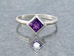 Zambian Amethyst Gemstone Stacking Ring by janeysjewels on Etsy, $85.00