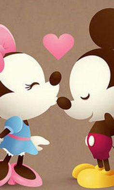 Mickey and Minnie Kiss Mickey Mouse E Amigos, Mickey E Minnie Mouse, Mickey And Minnie Love, Mickey Mouse And Friends, Disney Mickey, Disney Art, Retro Disney, Cute Disney, Disney Girls