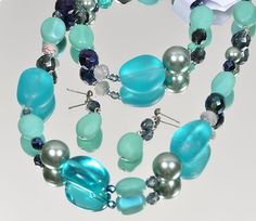 Czech Glass Bead Necklace, Earring and Bracelet Set NEW Turquoise