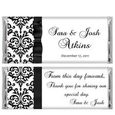 Black Tie Damask Wedding Candy Bar Wrapper Reception Favor Bridal