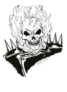 The burning face of ghost rider coloring page - Dessin de ghost rider ...