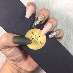 Matte Olive Green Press On Nails Army Green and by NailedByCristy