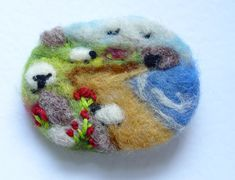 Needle felted brooch, pin, wool, 'Beach day', sheep, summer, landscape art IWANTCRAFT