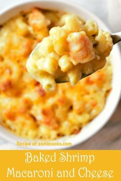 Baked Shrimp Macaroni and Cheese is gooey, rich, creamy comfort food kicked up a notch with Old Bay seasoned shrimp. This is a creamy, rich, and decadent recipe for an 'over the top' experience. This is a small batch recipe and makes 2 generous servings, great for lunch, dinner or an impressive date night! Macaroni And Cheese Recipe For Two, Seafood Mac And Cheese, Macaroni Cheese, Baked Shrimp Mac And Cheese Recipe, Baked Cheese, Seafood Pasta, Chili Recipes, Seafood Recipes, Pasta Recipes