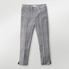 Women's Straight Leg Plaid Slim Fit Pants - A New Day Gray 16